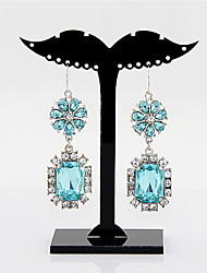 Kayshine Women's Bling Bling Bohemian Style Blue Oblong Gemstone Studded Teardrop Alloy Ring
