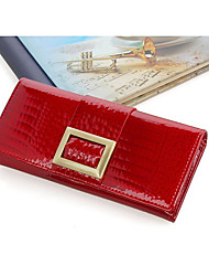 Mega Classic Patent Leather Long Wallet(Red)