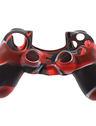 Silicone Skin Case and 2 Black Thumb Stick Grips for PS4 (Red + Black)