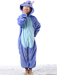 Kigurumi Pajamas Monster Leotard/Onesie Halloween Animal Sleepwear Blue Patchwork Flannel Kigurumi Kid Halloween