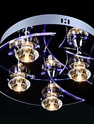 cristal levou montagem plana, 4 luz, artístico escultura de acrílico aço inoxidável