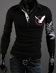 Shangdu Lapel Eagle Pattern Long Sleeve Slimming POLO Shirt(Black)