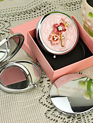 Personalized Gift Flower Style Pink Chrome Compact Mirror