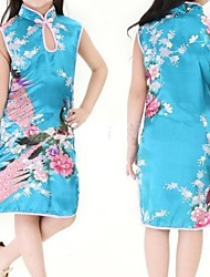 Chinese Traditional Child Girl Peacock Cheongsam Dress