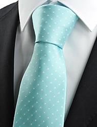 New White Dot Mint Blu Jacquard Mens Tie Cravatta Suit regalo della festa nuziale