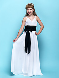 Floor-length Chiffon Junior Bridesmaid Dress Sheath / Column V-neck Empire with Sash / Ribbon / Criss Cross / Ruching