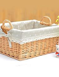 Stile cinese Fiore Bianco Bamboo Basket archiviazione
