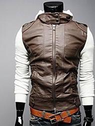 ZHELIN Knitted Sleeve Short Slim Hooded Leather Coat