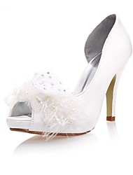 Satin/Lace  Women's Wedding Stiletto Heel Pumps Sandals with Rhinestone and Flowers Shoes