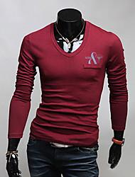 v Die hohe Qualität V-Ausschnitt einfarbig Poloshirt (Wein)