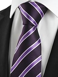 New Striped Lila formale Mann-Riegel-Krawatte für Hochzeit Souvenirs