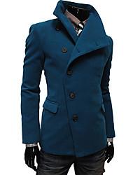Fivela Grande Casaco Tweed Collar Masculina