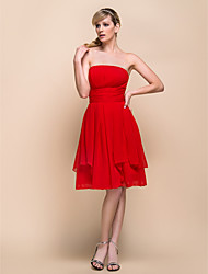 Bridesmaid Dress Knee Length Chiffon A Line Strapless Dress (929963)