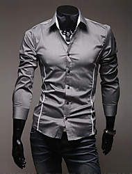 A&W Men's Gray Fit Cutting Leisure Long Sleeve Shirt