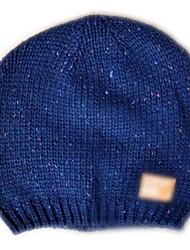 Mode Beanie Knited Cap Keep Warm acrylique souple de chapeau d'hiver et One Size Fits All bleu avec Yellow Icon pour les femmes