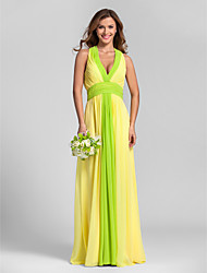 Lanting Bride® Floor-length Georgette Bridesmaid Dress - A-line Halter Plus Size / Petite with Draping / Ruching / Side Draping