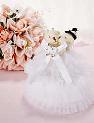 Music Box Wedding Ring Pillow with Ribbon and Flowers