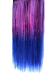 Clip de 25 pulgadas en las extensiones sintéticas del pelo púrpura y azul de la pendiente recta con 5 Clips