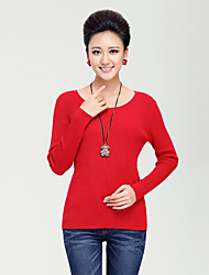 QIANMAI Slim Round Collar Bottoming Sweater(Red)
