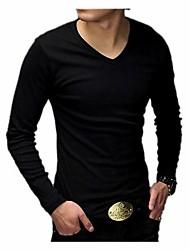 Männer Casual koreanische Baumwolle Langarm-T-Shirts