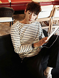 Homens Collar T-shirt longo da luva das listras Coréia Estilo Rodada