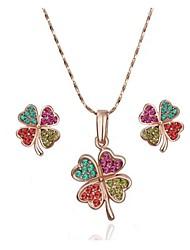 Women's Fashion 18K Rose Gold Flower Green Crystal (Necklace&Earrings) Jewelry Sets