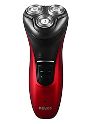 Povos Pw930 Black Red Fully Washable Rechargeable Independent Floating Triple Head High-Class Electric Men Shaver
