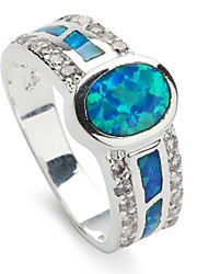 Fashion 925 Silver Plated Copper Blue Opal Ring