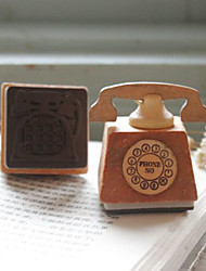 Vintage Telephone Shaped Wooden Stamper