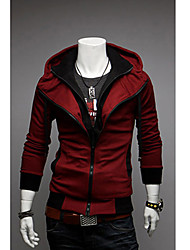 RR Buy Fashion Slim Fake Two-Piece Color Stitching Hoodies(Wine)