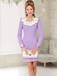 Bowknot delgado vestido de lana de la Mujer