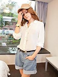 Vrouwen High Waist Rolling-up manchetten Oversized Shorts