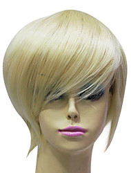 Capless High Quality Synthetic Janpanese Kanekalon Short Platinum Blonde Straight Hair Wig