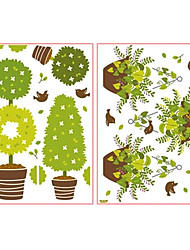Cute Cartoon Lovely Pot Plants Window Stickers - 2 Pics in One Piece