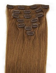 Clip de 70g 18 pulgadas 7pcs en humanos extensiiion cabello humano rectas múltiples colores q1870 disponibles