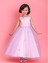 Lanting Bride A-line / Princess Tea-length Flower Girl Dress - Satin / Tulle Sleeveless Jewel with Appliques / Beading / Flower(s)