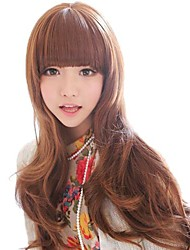 Fashion Women Long Wavy Light Brown Synthetic Full Bang Wigs