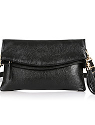 Sac à main de dames Pochette chaîne de paquets de cuir Mega épaule simple Femme (Noir)