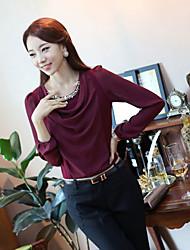 Ailuoer Pérola Chiffon shirt em torno do pescoço manga comprida Bottoming Shirt (vinho)