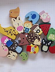 Animals Wooden Fridge Magnet - Set of 12 (Random Design)
