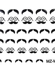 2PCS Beard Nail Art Stickers Mixed Pattern No.07-08