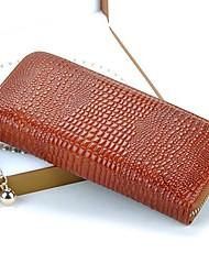 Mulheres Moda de Nova Vintage 100% couro genuíno de água salgada Crocodilo Zipper em torno de tempo Purse