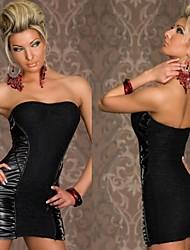 Gaine Colonne de femmes Backless sans bretelles sexy PU Lace Wrap robes de soirée
