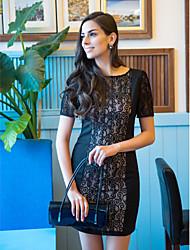 TS Lace Splicing Short Sleeve Bodycon Dress