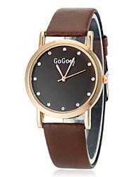 Or Case PU bande de montre bracelet à quartz analogique des femmes (couleurs assorties)