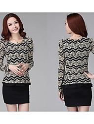 Women's Print Black T-shirt , Round Neck Long Sleeve Lace