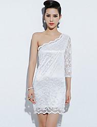 Daibo ombro único Elegante E Sexy Vestido de renda (branco)
