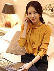 JINXIN Chiffon Diamond Skinny Long Sleeve Blouse(Yellow)