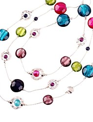 três esferas de vidro coloridas de moda colar