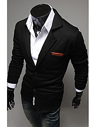 Men's Solid Casual / Work Blazer Long Sleeve Black / Blue / Gray